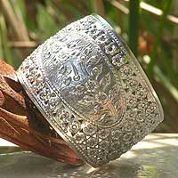 Sterling silver cuff bracelet, 'Gardener's Bliss' - Unique Floral Sterling Silver Cuff Bracelet