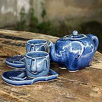 Celadon tea set, 'Blue Elephant' (set for 2) - Celadon Ceramic Tea Service (Set for 2)