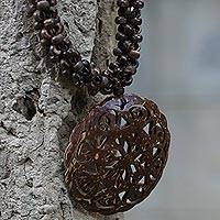Coconut shell pendant necklace, 'Floral Medallion'