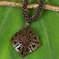 Coconut shell pendant necklace, 'Diamond Sun'