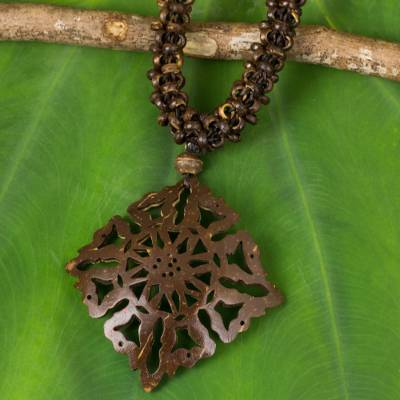 Coconut shell pendant necklace, 'Diamond Sun' - Fair Trade Coconut Shell Pendant Necklace