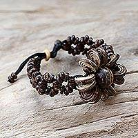 Coconut shell floral bracelet, 'Sunflower' - Handcrafted Beaded Coconut Shell Bracelet