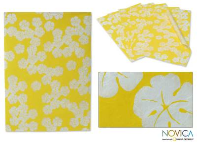 Saa wrapping paper, 'Sunshine Blossoms' (set of 6) - Saa wrapping paper (Set of 6)