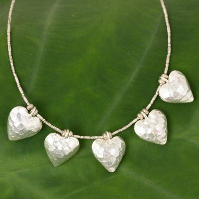 Silver pendant necklace, 'Family of Five' - Heart Shaped 950 Silver Pendant Necklace