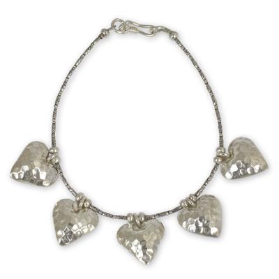 Heart Shaped Sterling Silver Charm Bracelet