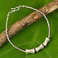 Silver pendant bracelet, 'Sisters' - Hand Crafted Silver Beaded Bracelet