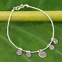 Silver charm bracelet, 'Secret Circle' - 950 silver charm bracelet