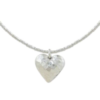 Silver heart pendant necklace, 'Heartbeat' - Handcrafted Heart Shaped 950 Silver Pendant Necklace