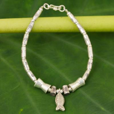 Silver dangling bracelet, 'Teach Me to Fish' - 950 silver dangling bracelet