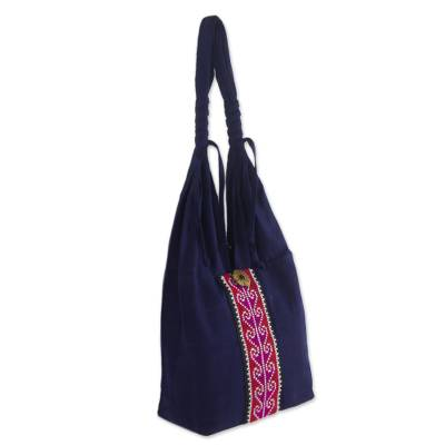 Artisan Crafted Blue and Bright Pink Embroidered Sling Shoulder Bag