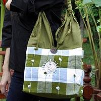 Cotton handbag, 'Green Plaid Elephant' - Patterned Cotton Shoulder Bag from Thailand