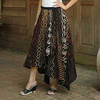 Cotton wraparound skirt, 'Midnight Vineyard' - Cotton wraparound skirt