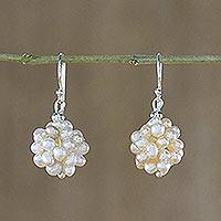Pearl cluster earrings, 'Snowball' - Pearl cluster earrings