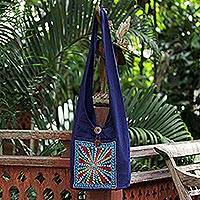 Cotton handbag, 'Starburst'