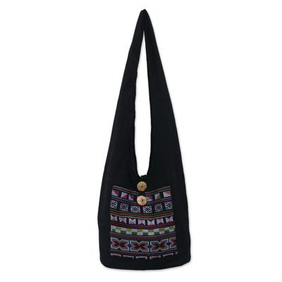 Cotton and Hemp Embroidered Sling Handbag