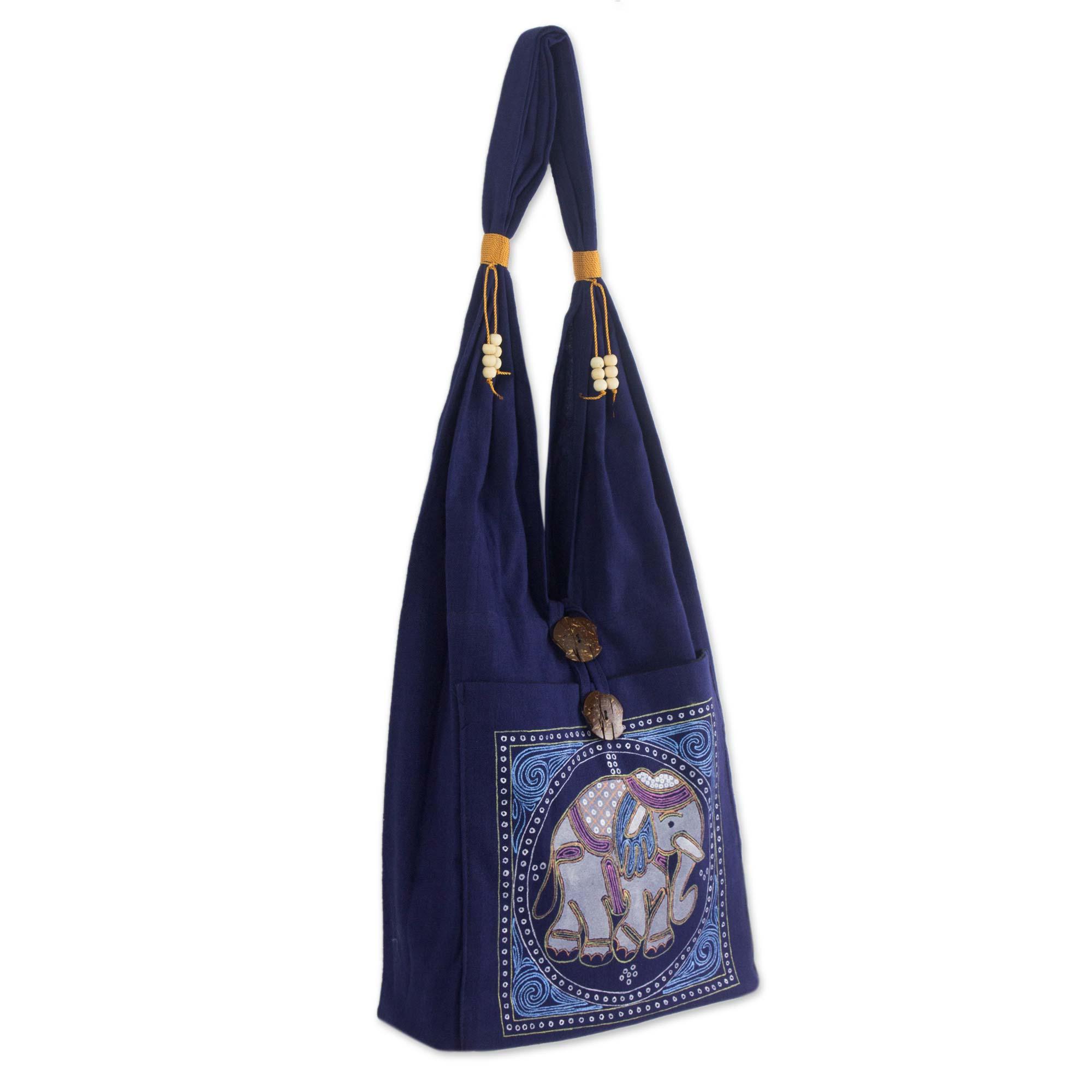 Novica Cotton shoulder bag, Spring Elephant