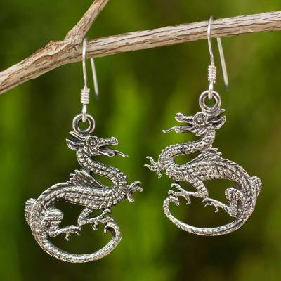 Sterling silver dangle earrings, 'Dragon Duet' - Handcrafted Sterling Silver Dangle Earrings
