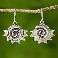 Sterling silver dangle earrings, 'Sun Muse' - Handcrafted Sterling Silver Dangle Earrings