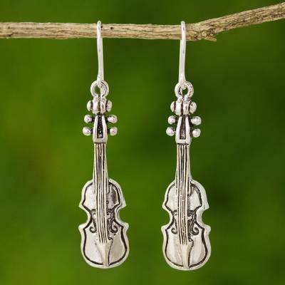Sterling silver dangle earrings, 'Violin Symphony' - Artisan Crafted Sterling Silver Dangle Earrings