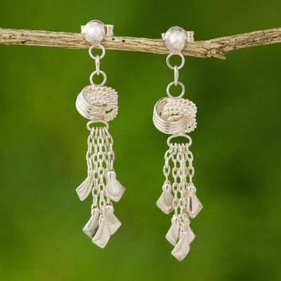 Sterling silver waterfall earrings, 'Love Knots' - Hand Made Modern Sterling Silver Chandelier Earrings
