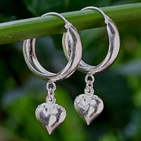 Sterling silver hoop earrings, 'Heart Halo' - Sterling Silver Hoop Earrings