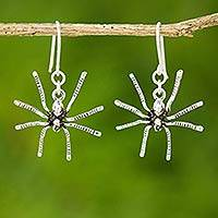 Sterling silver dangle earrings, 'Sterling Spiders'