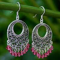 Sterling silver chandelier earrings, 'Moroccan Rose'