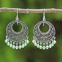 Sterling silver chandelier earrings, 'Moroccan Mint' - Sterling Silver Chandelier Earrings