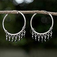 Sterling silver hoop earrings, 'Classic Black' - Sterling Silver Chandelier Earrings