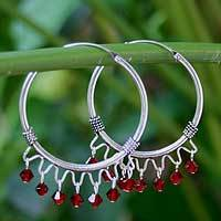 Sterling silver hoop earrings, 'Classic Red' - Sterling Silver Beaded Hoop Earrings from Thailand