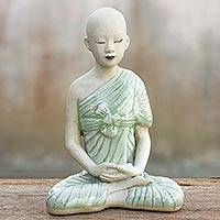 Celadon ceramic statuette, 'Concentration' - Ceramic Sculpture from Thailand