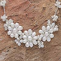 Pearl flower necklace, 'Snow Blossom' - Artisan Crafted Pearl Necklace