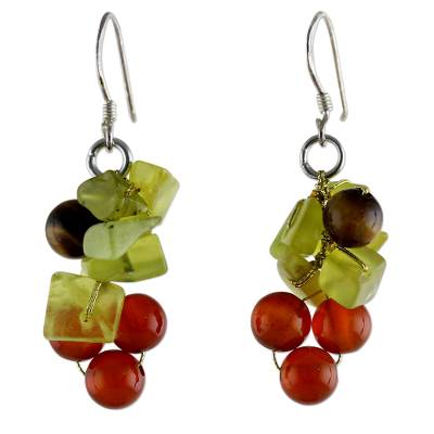 Beaded Quartz and Carnelian Earrings