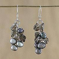 Pearl cluster earrings, 'Midnight Mystery'