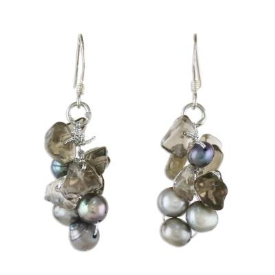Pearl and Quartz Dangle Earrings