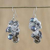 Pearl and smoky quartz cluster earrings, 'Night Song' - Smoky Quartz and Pearl Dangle Earrings