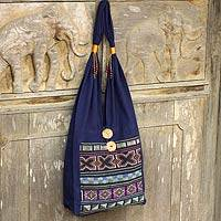 Cotton handbag, 'Akha Life'