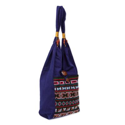 Cotton handbag, 'Akha Life' - Cotton handbag