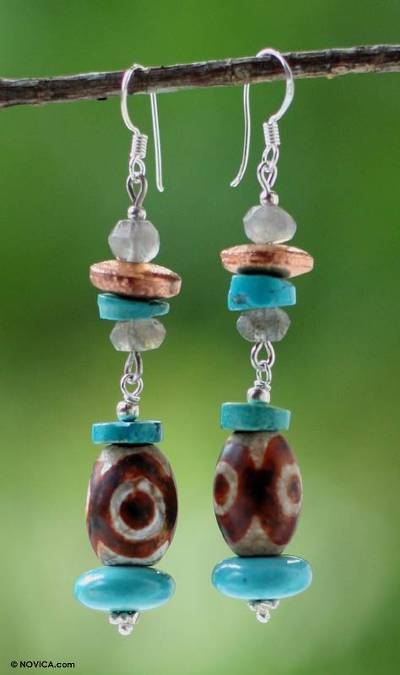 Labradorite dangle earrings, 'Sunny Sky' - Labradorite dangle earrings
