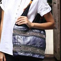 Cotton shoulder bag, 'Music' - Hand Crafted Cotton Shoulder Bag