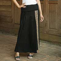 Cotton wraparound skirt, 'Thai Deluxe' - Black Cotton Wrap Skirt