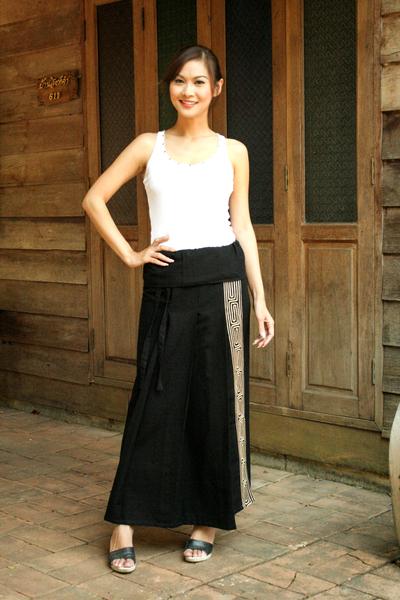 Cotton wraparound skirt, 'Thai Deluxe' - Black Cotton Wrap Skirt