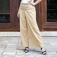 Cotton capri pants, 'Brown Desert' - Handcrafted Cotton Capri Pants