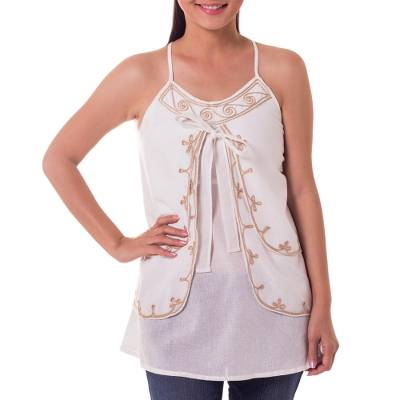 Cotton blouse, 'Waves' - Embroidered Cotton Tank Top