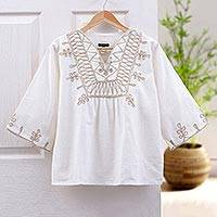 Cotton blouse, 'Dance'