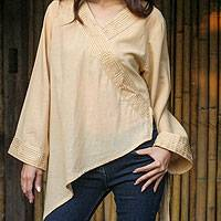 Cotton blouse, 'China Paths in Light Brown'