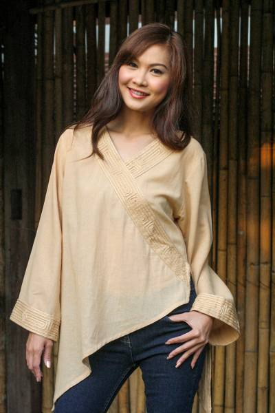 Cotton blouse, 'China Paths in Light Brown' - Cotton Blouse from Thailand