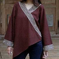 Cotton blouse, 'China Paths in Dark Brown'
