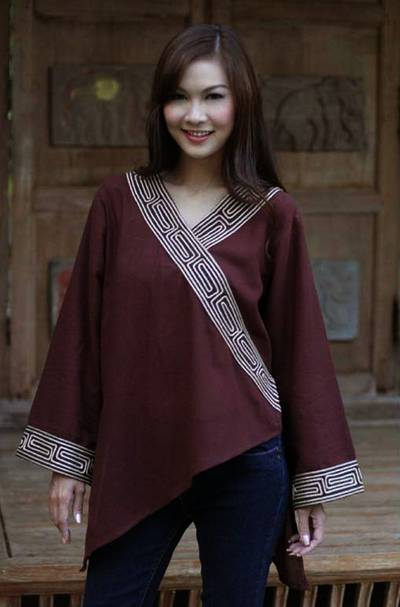 Cotton blouse, 'China Paths in Dark Brown' - Embroidered Cotton Blouse