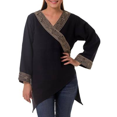 Cotton blouse, 'China Paths in Black' - Women's Cotton Blouse